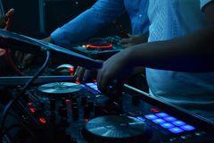 nigth club with the djs stock photography