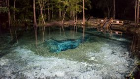 Nigth-Foto der Oberfläche des Wasserods die Teufelohrhöhle in Ginnie Springs stockfoto
