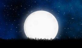Nigth-Himmel mit dem großen Mondillustrations-Entwurfshintergrund lizenzfreie abbildung