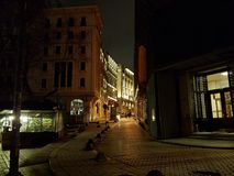 The nigth of Istambul. Nice street of Istambul, Turkey at nigth. The old small streets can be observed Stock Photos