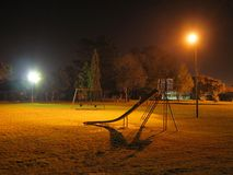 Nigth Park. Urban park with spotlights at night stock photos