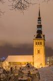 Niguliste cathedral on winter night, Tallinn, Estonia Royalty Free Stock Image