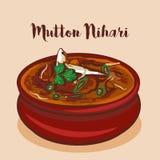 Mutton Nihari or Nalli nihari traditional mughalai cuisine vector illustration vector illustration