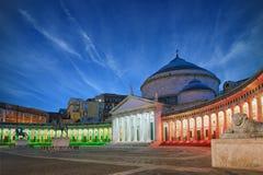 Nihgt view of San Francesco di Paola church at Piazza del Plebis Royalty Free Stock Photography