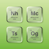 Nihonium, Moscovium, Tennessine et Oganesson Photographie stock