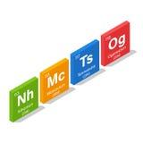 Nihonium, Moscovium, Tennessine i Oganesson, Obraz Stock