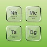 Nihonium, Moscovium, Tennessine i Oganesson, Fotografia Stock