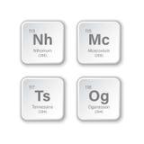 Nihonium, Moscovium, Tennessine i Oganesson, Fotografia Royalty Free
