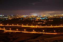 Niht view on Mosta and Sliema after firework, Malta Stock Photos