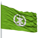 Niigata Capital City Flag on Flagpole, Flying in the Wind, Isolated on White Background Royalty Free Stock Photos