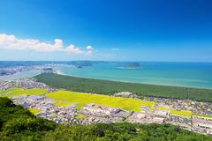 Nijinomatsubara och Karatsu stad i sagan, Japan Royaltyfri Fotografi