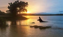 Nijlpaard in de rivier van Nijl bij zonsopgang bij de Murchison-Daling stock fotografie