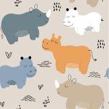 Nijlpaard naadloos patroon kinderachtige Vectorillustratie voor stof, textiel, kleren, behang, stock illustratie