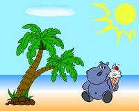 Nijlpaard op het strand Stock Afbeelding