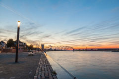 Nijmegen cityscape and Waal bridge Royalty Free Stock Photos
