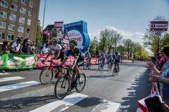 Nijmegen, holandie Maj 7, 2016; Fachowi cykliści po kończyć sprint w drugiej scenie wycieczka turysyczna Włochy Zdjęcia Stock