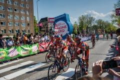 Nijmegen, holandie Maj 7, 2016; Fachowi cykliści po kończyć sprint w drugiej scenie wycieczka turysyczna Włochy Fotografia Royalty Free