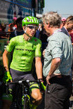 Nijmegen, Netherlands May 8, 2016; Davide Formolo professional cyclist during an interview Royalty Free Stock Photo