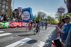Nijmegen, Netherlands May 7, 2016; Professional cyclists after finishing the sprint in  the second stage of the Tour of Italy Stock Images