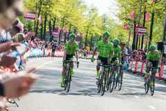 Nijmegen, Netherlands May 7, 2016; Rigoberto Uran and his followers after finishing the sprint Royalty Free Stock Photos