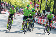 Nijmegen, Netherlands May 7, 2016; Rigoberto Uran and his followers after finishing the sprint Stock Images
