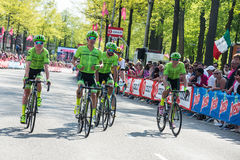 Nijmegen, Netherlands May 7, 2016; Rigoberto Uran and his followers after finishing the sprint Royalty Free Stock Image