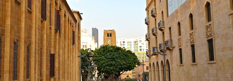 Nijmeh fyrkant, i stadens centrum Beirut - Libanon royaltyfri bild
