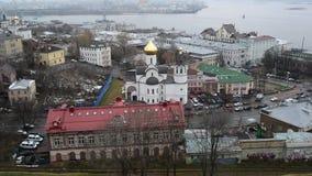 Nijni-Novgorod, Russie -02 11 2015 Vue supérieure de banque de vidéos