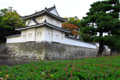 Nijo castle in colorful leaf and tree in japan. Kouyou Royalty Free Stock Photos