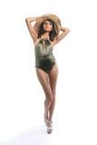 Nikła kobieta w Modnym kostiumu kąpielowym Zdjęcie Royalty Free