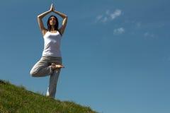 Nikła młoda kobieta robi joga ćwiczeniu. Obrazy Royalty Free