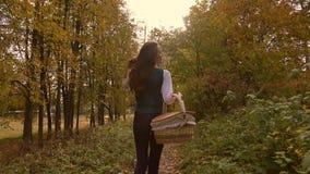 Nikły brunetki dziewczyny odprowadzenie w jesień lesie trzyma pyknicznego kosz 4K steadicam wideo zbiory