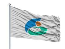 Nikaho miasta flaga Na Flagpole, Japonia, Akita prefektura, Odizolowywająca Na Białym tle royalty ilustracja