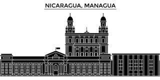 Nikaragua, Managua architektury miasto wektorowa linia horyzontu, podróż pejzaż miejski z punktami zwrotnymi, budynki, odosobneni ilustracji