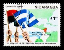 Nikaragua walka dla pokoju, 9th rocznica Sandinista Rev Fotografia Royalty Free