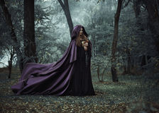Nikczemna czarownica w długiej ciemnej peleryny błąkaninie w drewnach zdjęcie stock