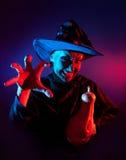Nikczemna czarownica z dyniowym lampionem Zdjęcie Stock