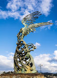 Nike  Carmelo Mendola statue, Giardini Naxos, Sicily, Italy Stock Image