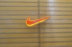 Nike Emblem at Emporium Mall Lahore Pakistan on 6th May 2017. Nike Logo in Emporium Mall Stock Photo