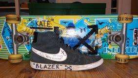 Nike off-white custom skate stock photography