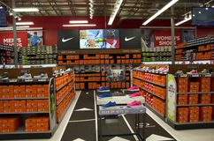 Nike shoes in Sports Authority Royalty Free Stock Photo