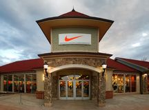 Nike store in Woodbury Common Premium Outlet Mall. CENTRAL VALLEY, NY - MAY 4, 2018: Nike store in Woodbury Common Premium Outlet Mall. Nike is world`s largest Stock Images