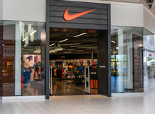 Nike storefront. Entrance to Nike storefront at the mall Royalty Free Stock Photo