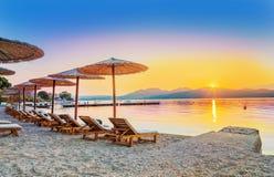 Nikianastrand in zomer, het eiland van Lefkada, Griekenland Royalty-vrije Stock Afbeeldingen