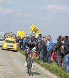 Nikias Arndt - Paris Roubaix 2014. Carrefour de l'Arbre,France-April 13,2014:The German cyclist Nikias Arndt from Giant Shimano Team riding on the famous Stock Images