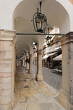 Nikiforou Theotoki street in Kerkyra, Corfu Stock Photos