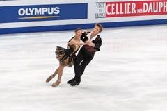 Nikita Katsalapov and Elena Ilinykh. MOSCOW, RUSSIA - APR 30: World championship on figure skating 2011. Nikita Katsalapov and Elena Ilinykh in pair ice dance Royalty Free Stock Photo