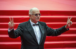 Nikita Mikhalkov on the red carpet 37 Moscow International film Festival. The great Russian film Director Nikita Mikhalkov welcomes journalists on the red carpet Stock Photo