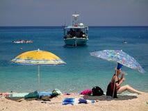 贴水Nikitas海滩,莱夫卡斯州,希腊 库存图片