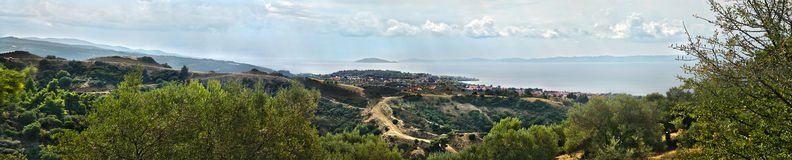 NIKITI LARGE PANORAMA, SITHONIA, CHALKIDIKI PENINSULA, GREECE, EUROPE Royalty Free Stock Photography